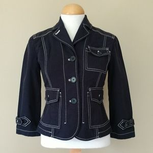 [LOFT] Exposed Stitching Cotton Blazer, Jacket